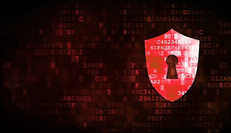 scudo com chave e código binário representando segurança e proteção