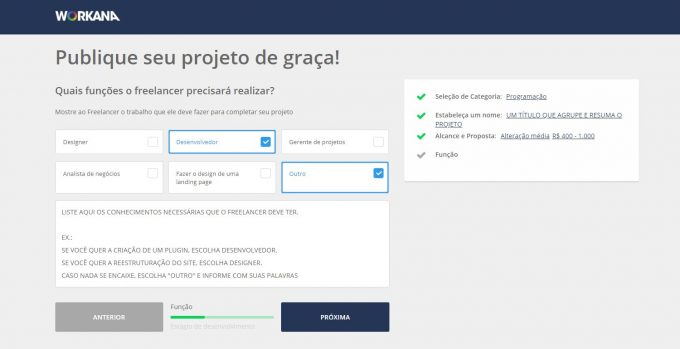 Tela para selecionar as funções requeridas do freelancer no projeto