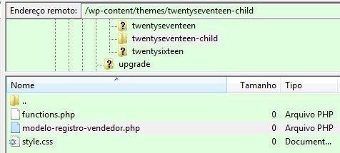 Imagem do FTP mostrando pasta do tema e pasta do tema filho