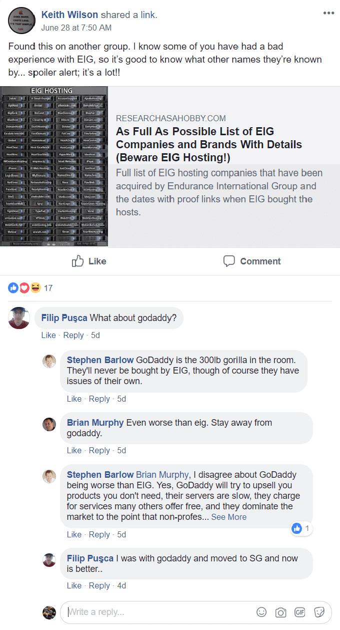 Comentários da internet sobre empresas EIG