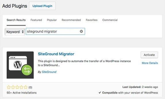 Tela de adicionar plugins no WordPress para migrar para SiteGround