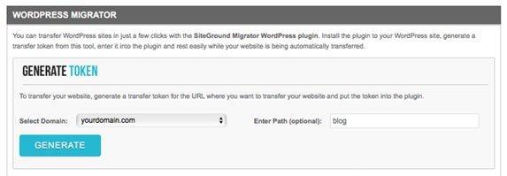Caixa com opções para gerar token de migrar para SiteGround
