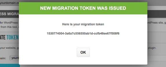 Tela mostrando o novo token gerado para ser copiado antes de migrar para siteground