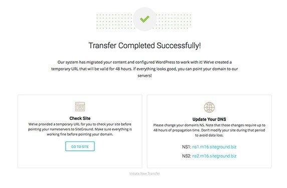 Tela pós-migração ensinando a trocar o NS e apontar para SiteGround
